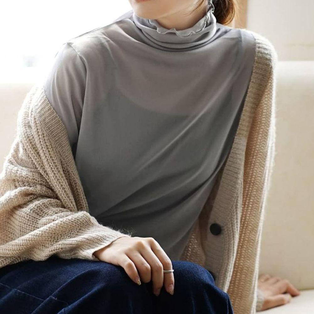 日本 zootie - 木耳邊透膚輕薄長袖上衣-灰