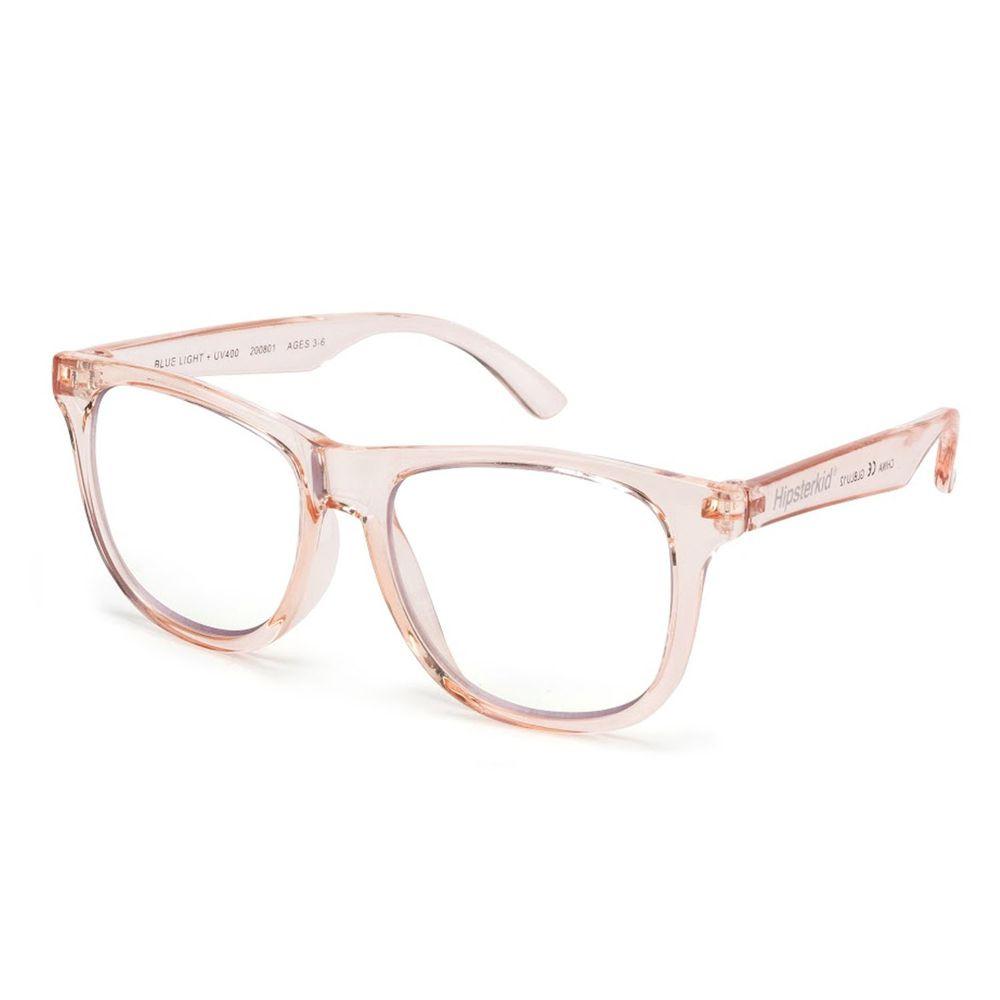 美國 Hipsterkid - 嬰幼兒童光學鍍膜抗UV抗藍光眼鏡-透明粉 (3-6歲)