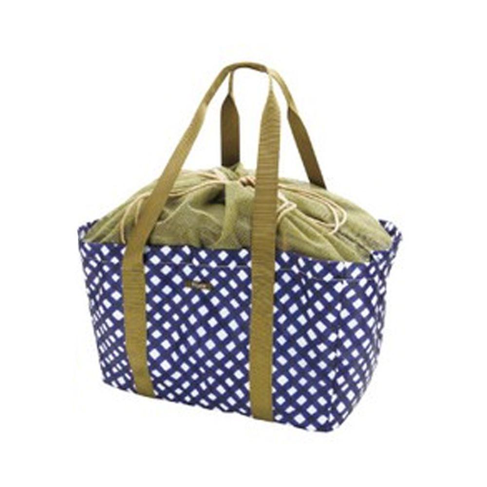 日本現代百貨 - 輕便可收納 保溫保冷袋/購物袋-普普藍點 (42x22x25cm)