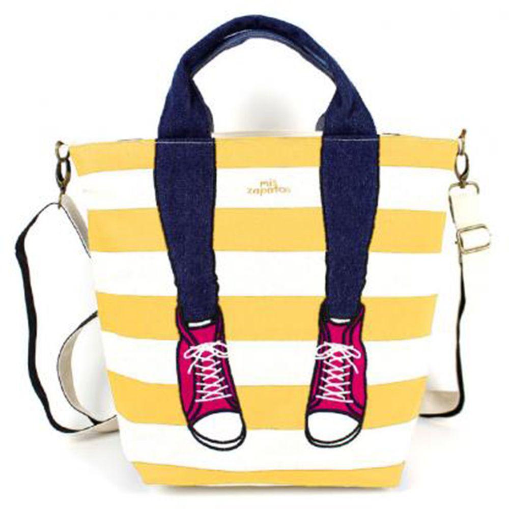 mis zapatos - 3way美腿包(帆布)-條紋運動鞋-MU黃色 (21*30*15cm)