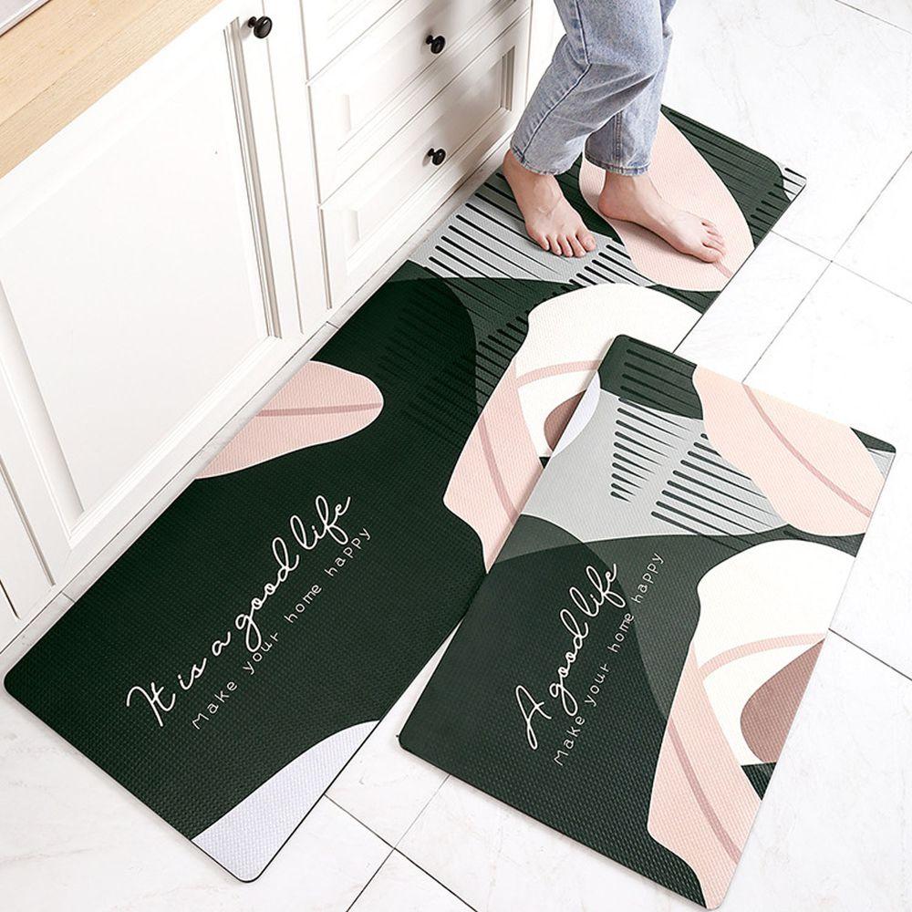廚房仿皮革PVC防水腳踏墊-葉子秘境-墨綠