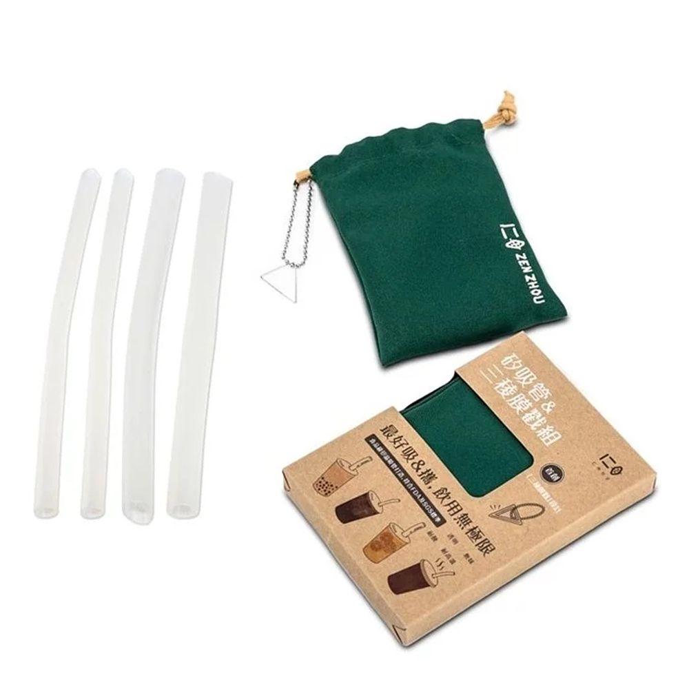 仁舟淨塑 - 新一代矽吸管&三稜膜戳組-大地綠-雙套組