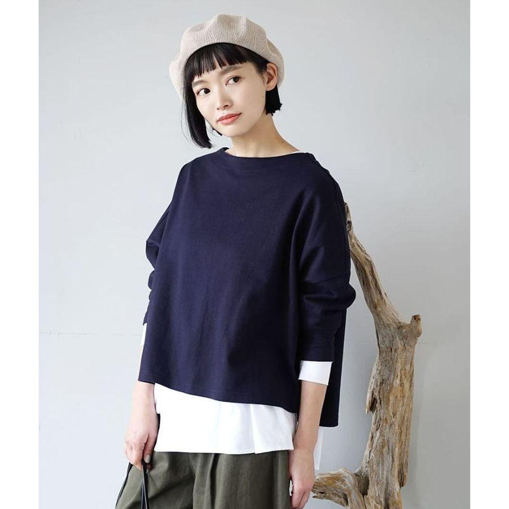日本 zootie - [撥水/撥油加工] 抗油污耐洗純棉長袖上衣-深藍