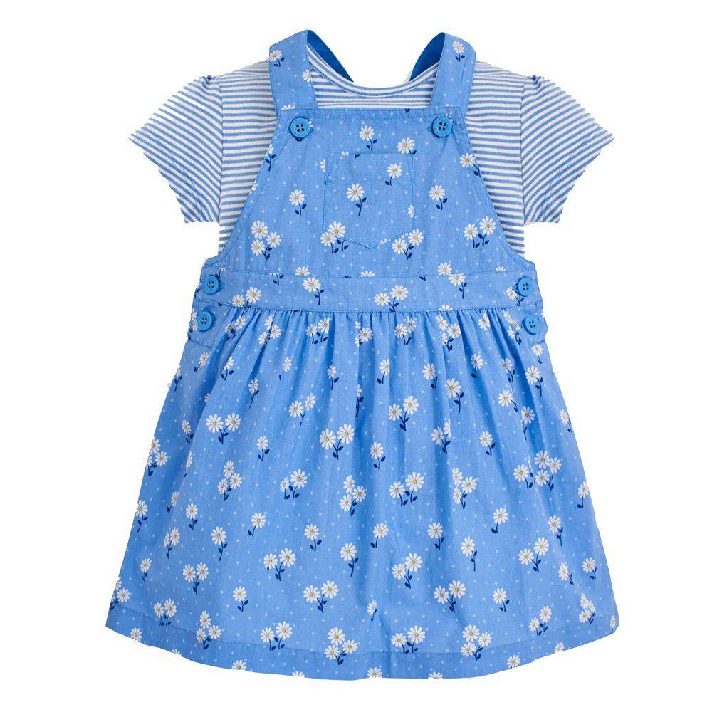 英國 JoJo Maman BeBe - 超優質嬰幼兒/兒童100%純棉2件式短袖洋裝-藍色花海