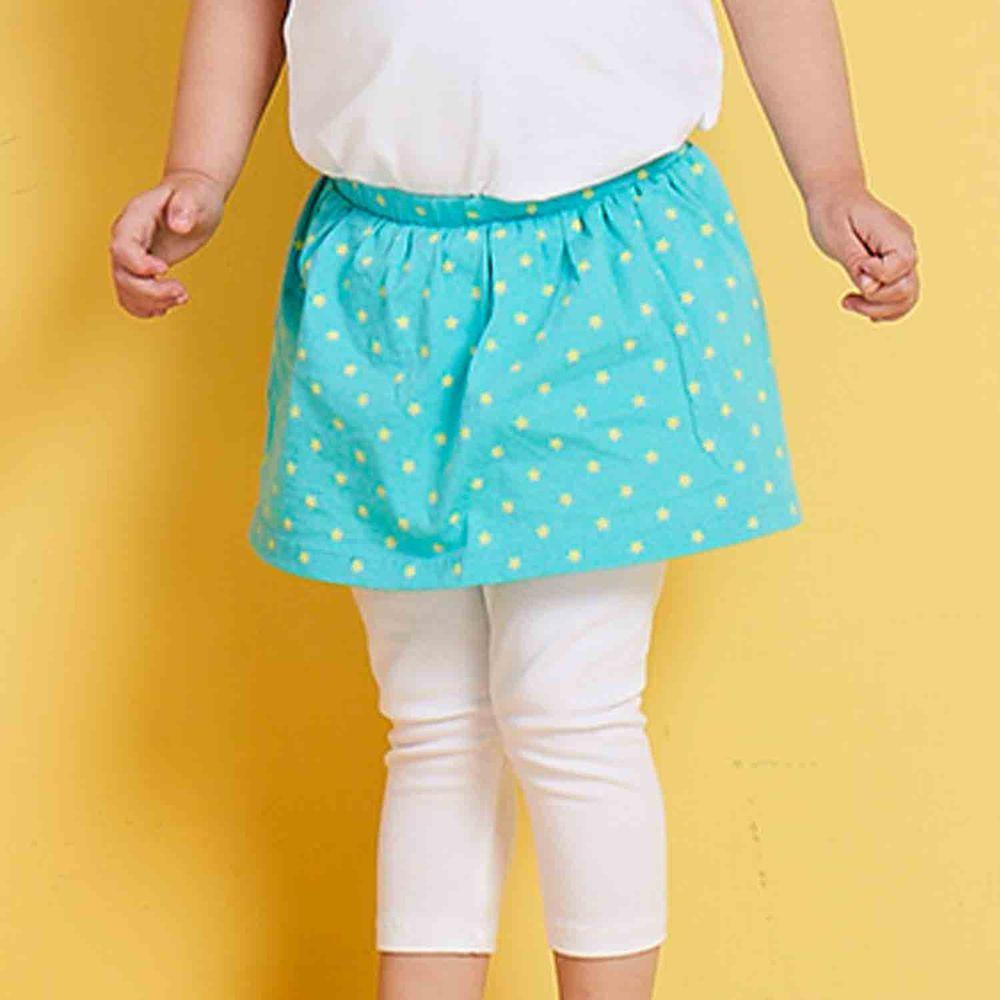 麗嬰房 Little moni - 俏麗假兩件星星裙合身褲-薄荷綠