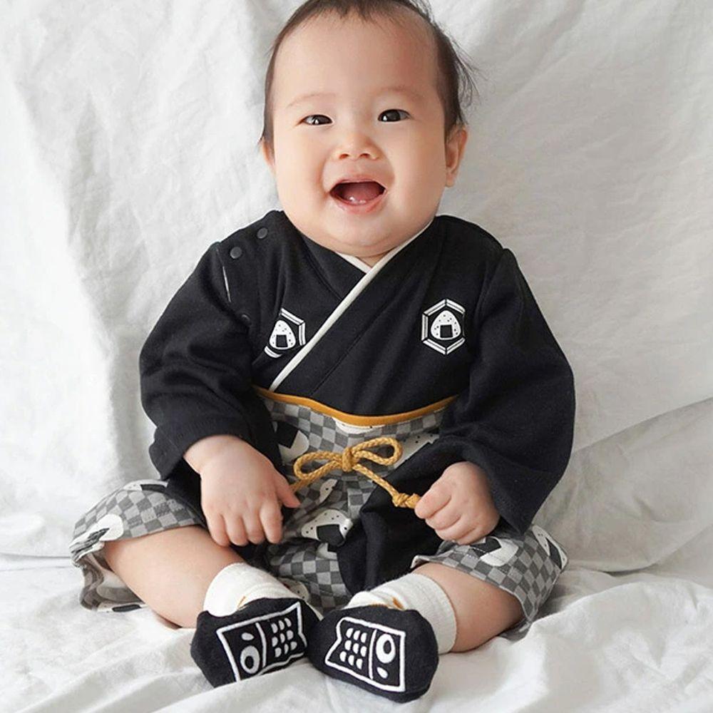 日本 ZOOLAND - 日本傳統袴 和服(連身衣式)附贈襪子-御飯糰-黑 (90)