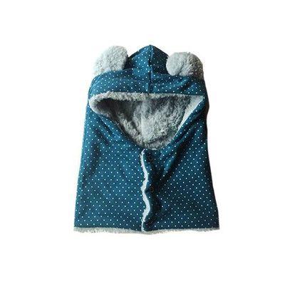 日本製動物耳朵純手工圍脖帽-滿版點點-藍綠
