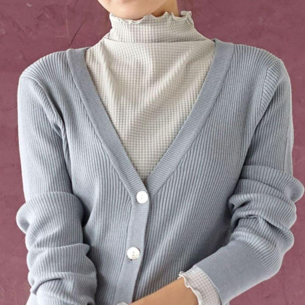 日本 zootie - 透明立體格子紋木耳邊透膚輕薄長袖上衣-淺灰