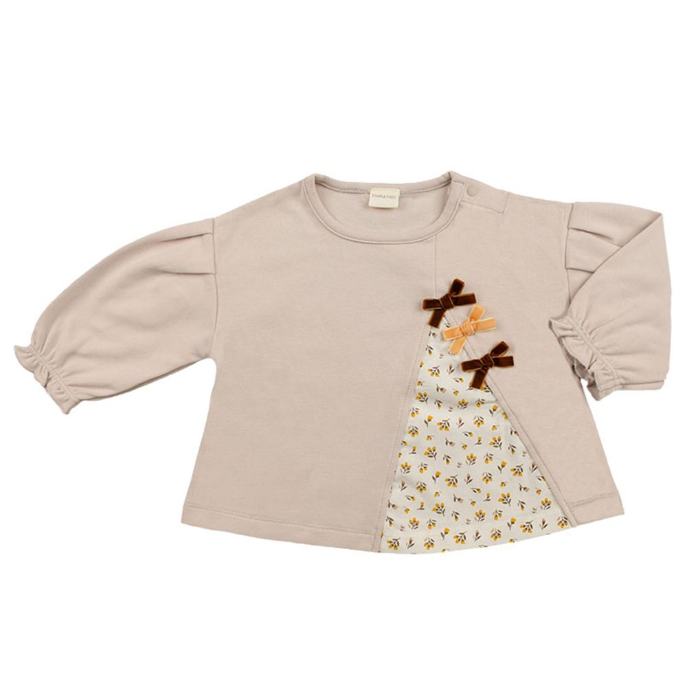 akachan honpo - 長袖拼接T恤-象牙白色
