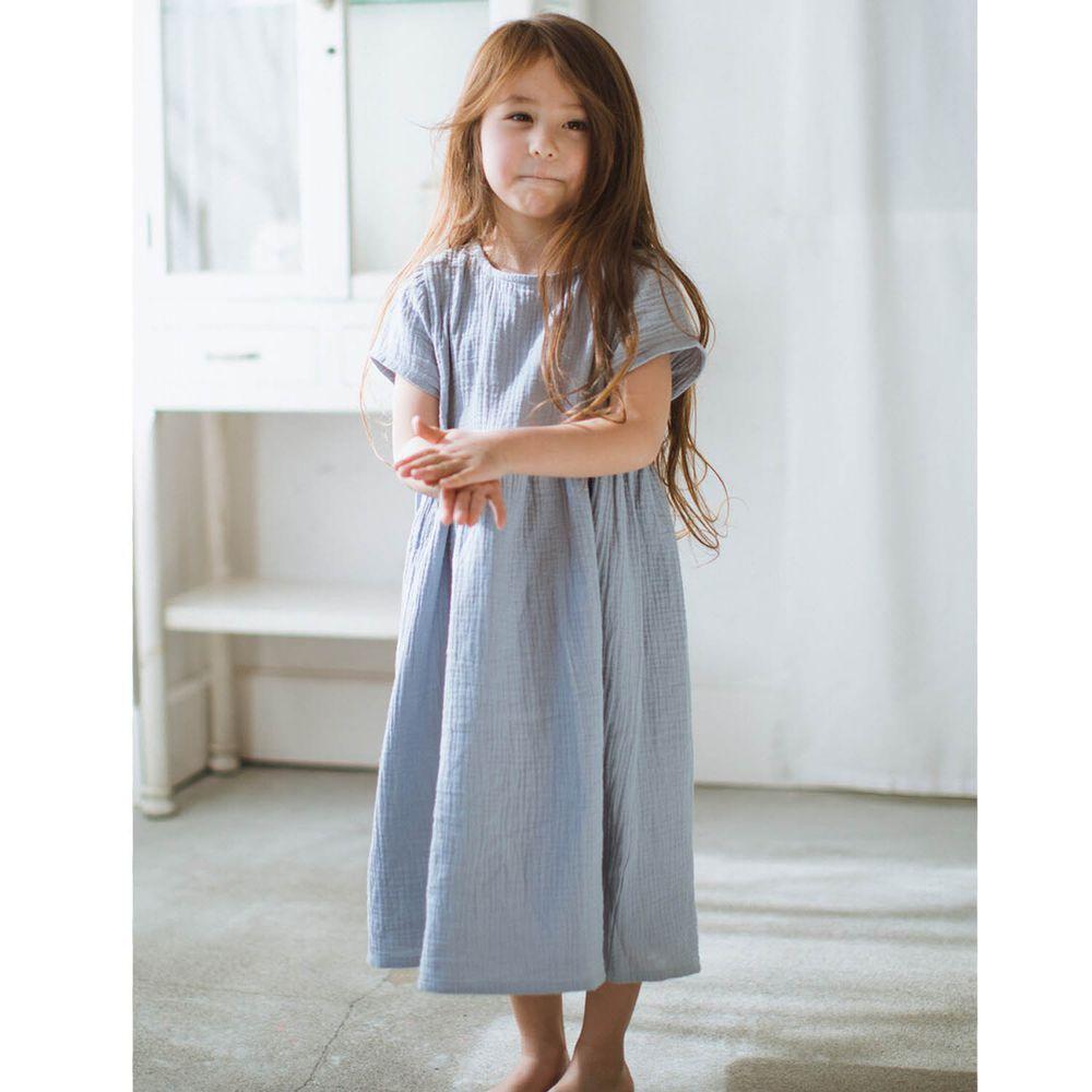 日本 PAIRMANON - 純棉二重紗素色短袖洋裝(孩子)-淺灰