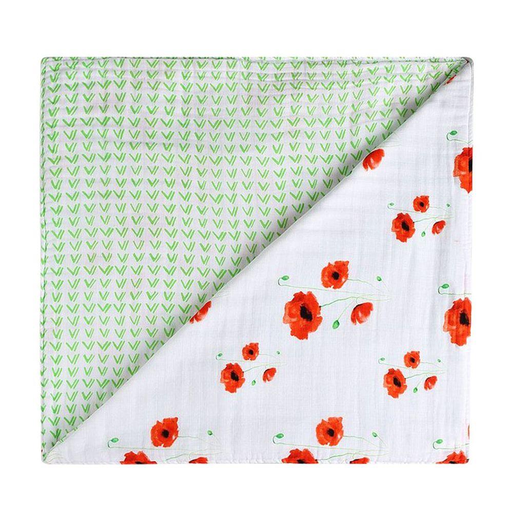 美國 Malabar baby - 有機棉被毯(四層紗)-緋紅罌粟 (120*120cm)