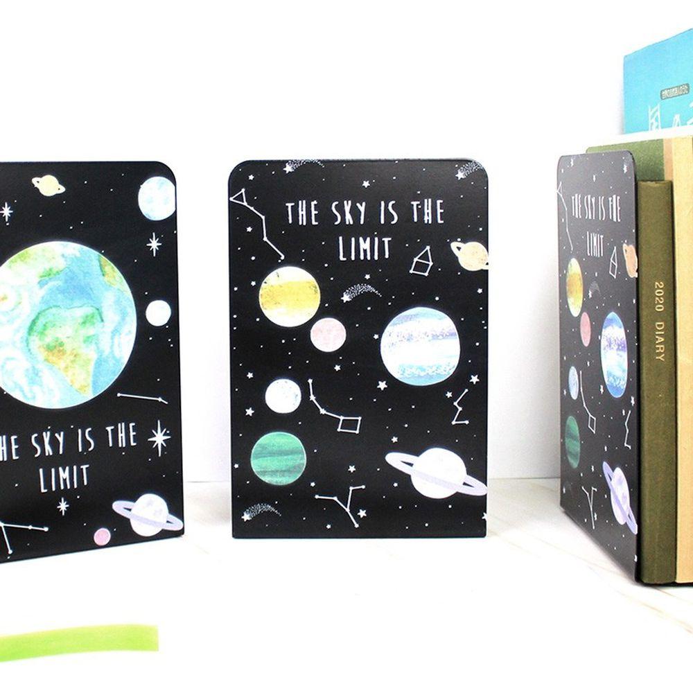珠友 - 鐵製L型書架/書擋-星球星空插圖/2入-不挑款隨機出貨