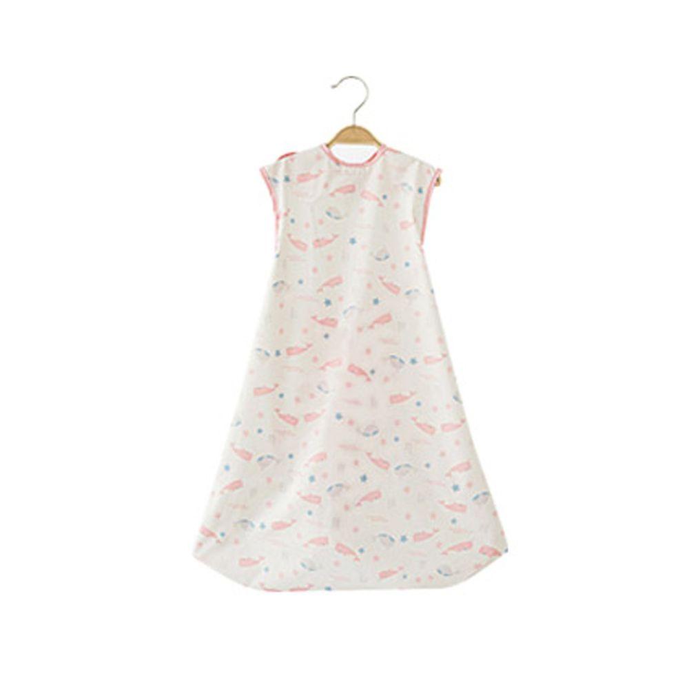 韓國 Babyclo - 多功能防水圍兜/圍裙(無袖)-粉紅鯨魚