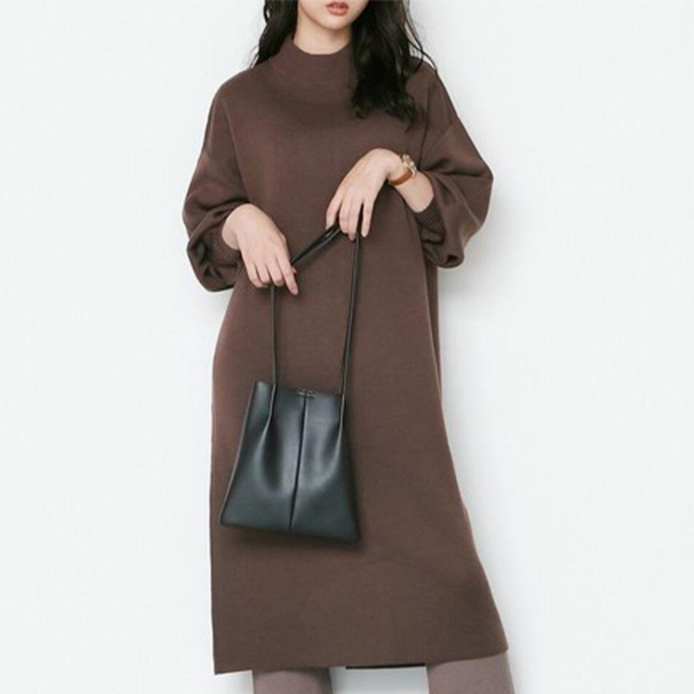 日本女裝代購 - 12G 半高領立體縫線設計針織長洋裝-深咖啡 (M(Free size))