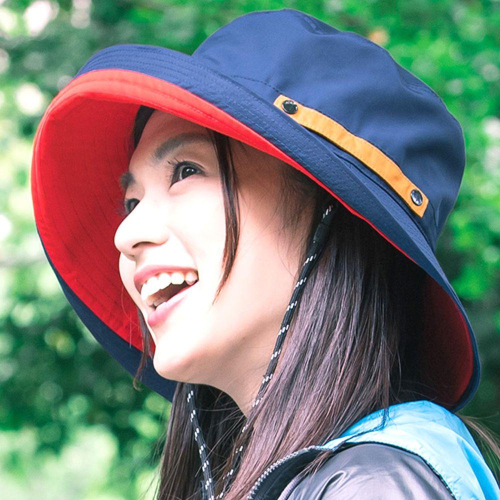 日本服飾代購 - 【irodori】抗UV可捲收防潑水遮陽帽(附防風帽帶)-深藍X紅