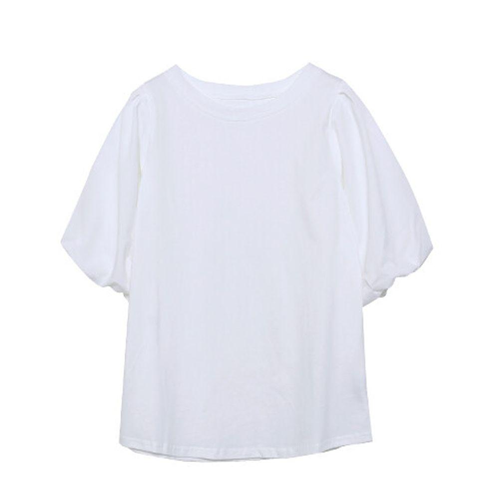 日本 Rejoule - 純棉澎澎袖五分短袖上衣-白 (M(Free size))