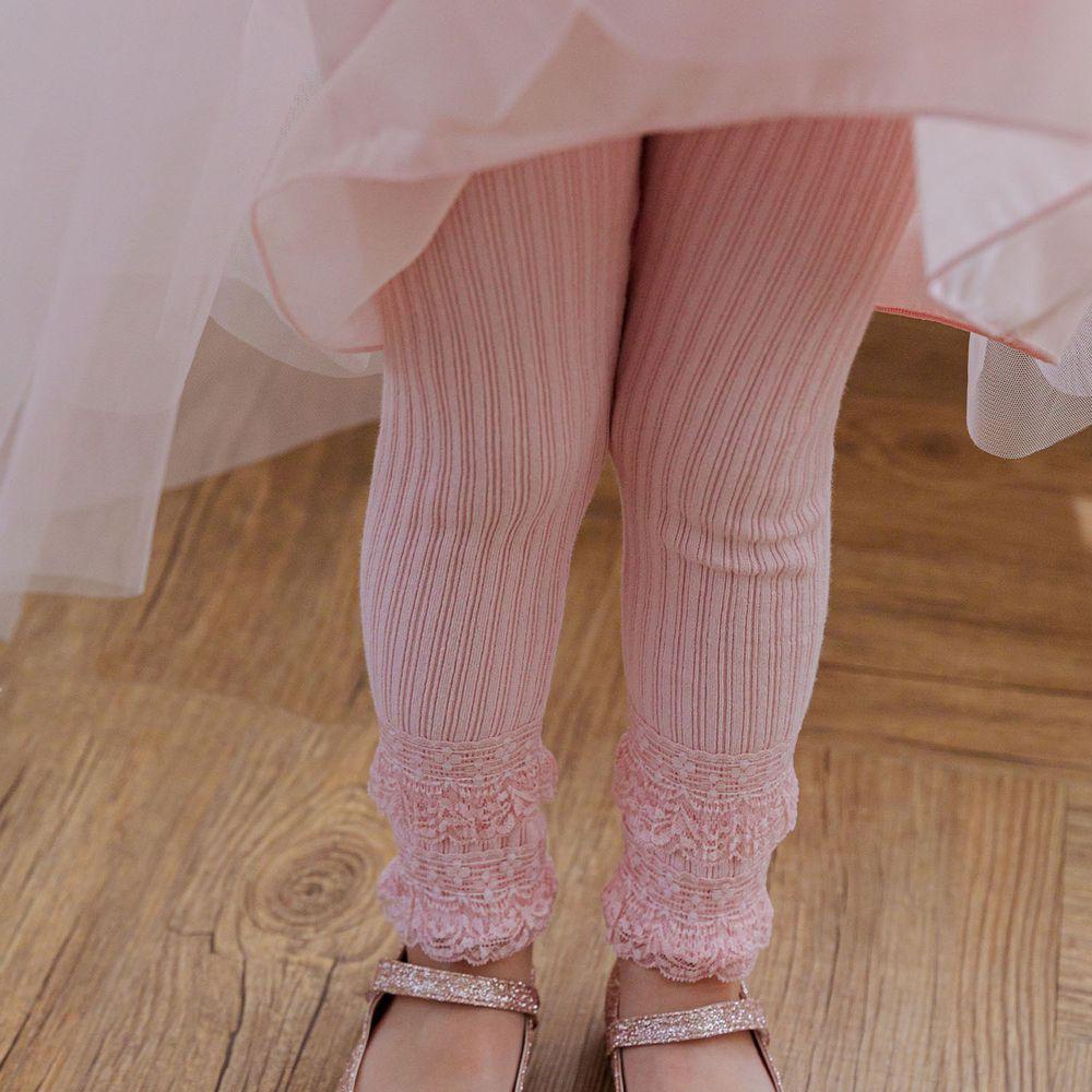 韓國 Mari an u - 雙層蕾絲褲管針織羅紋內搭褲-粉紅