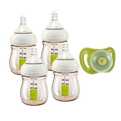 Utouch Ultra 寬口防脹氣 PPSU 奶瓶-附奶嘴-氣囊安撫奶嘴-拇指型 x 奶瓶組 (1 號慢流速-圓孔 [0個月新生兒])-160mLx4+氣囊安撫奶嘴-拇指型-綠色 [6個月以上]x1
