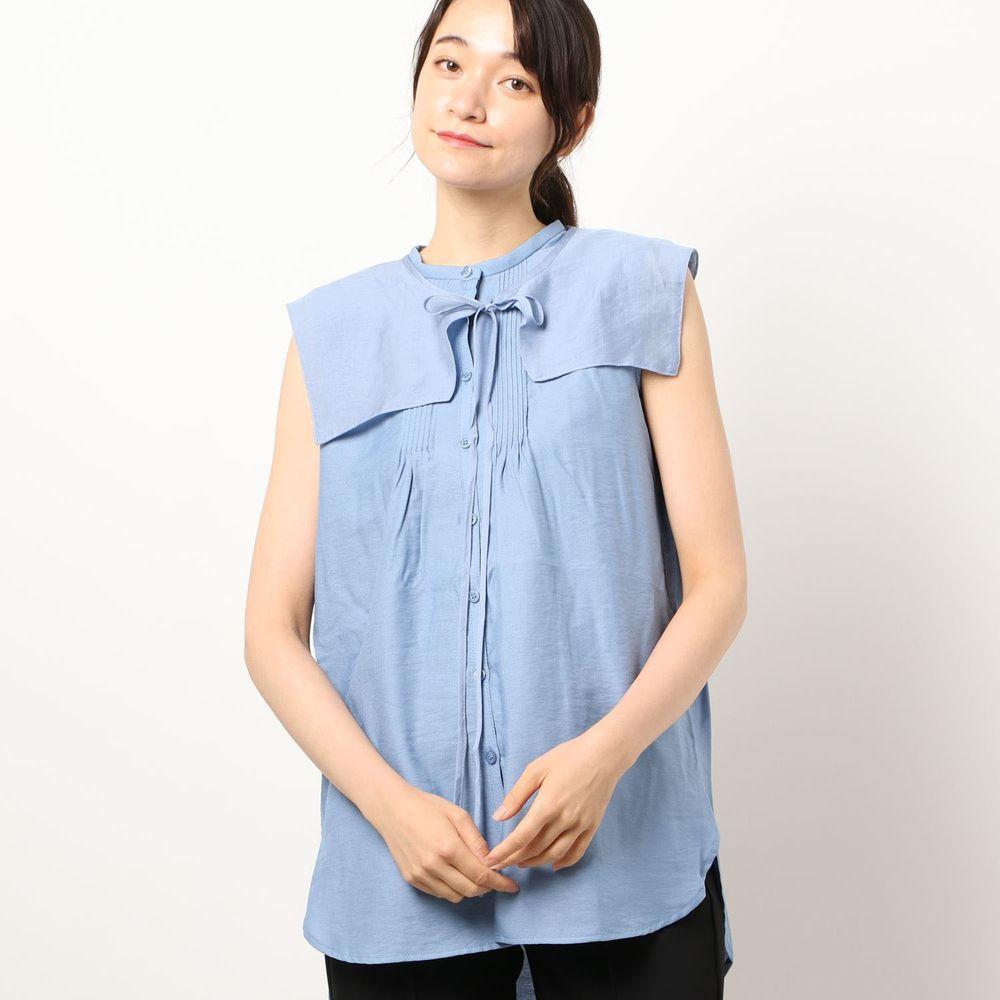 日本 Riche Glamour - 輕薄無袖襯衫+綁帶大領片兩件組-藍