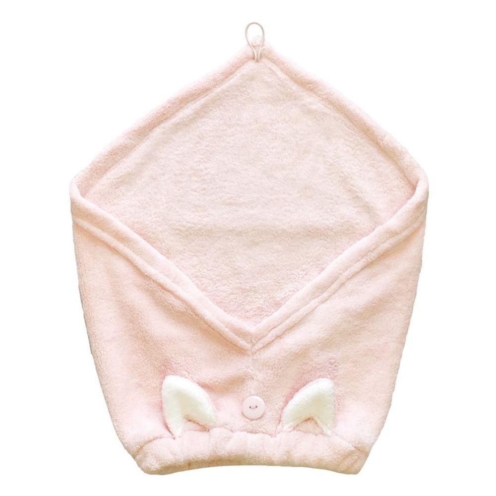 日本 CB JAPAN - 動物造型超細纖維擦頭包巾-小貓粉 (W220 X D430 X H15mm)