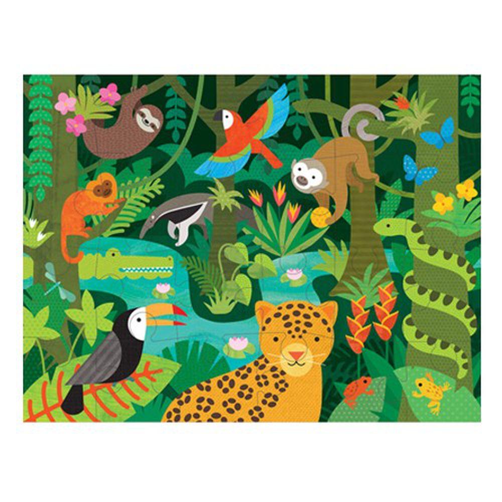 美國 Petit Collage - 地板拼圖-雨林動物-24片