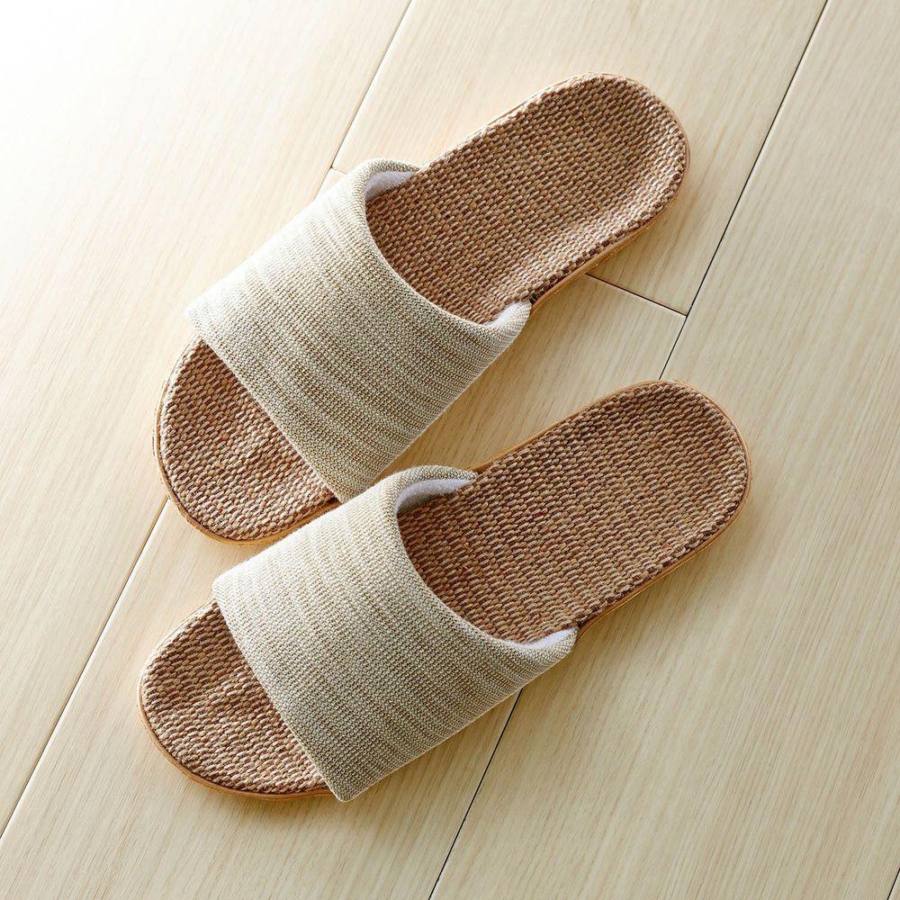 日本千趣會 - 植物纖維混紡編織風涼感室內拖-灰黃