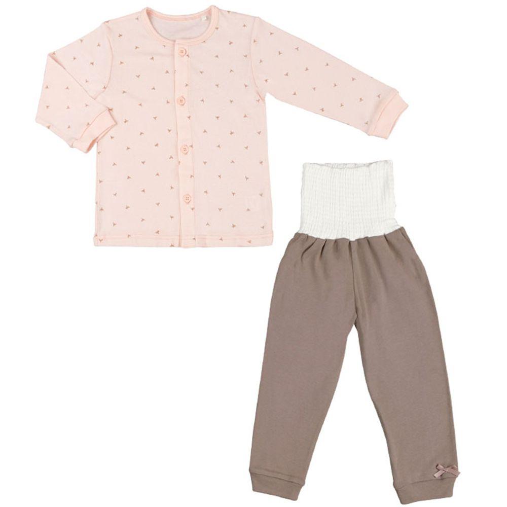 akachan honpo - 有機棉家居服 附肚圍-樹木、蒲公英-粉紅色