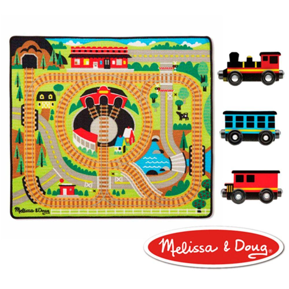 美國瑪莉莎 - MD 交通遊戲-地墊,可愛火車環繞鐵路 (100cmX91cm)-內含火車玩具x3