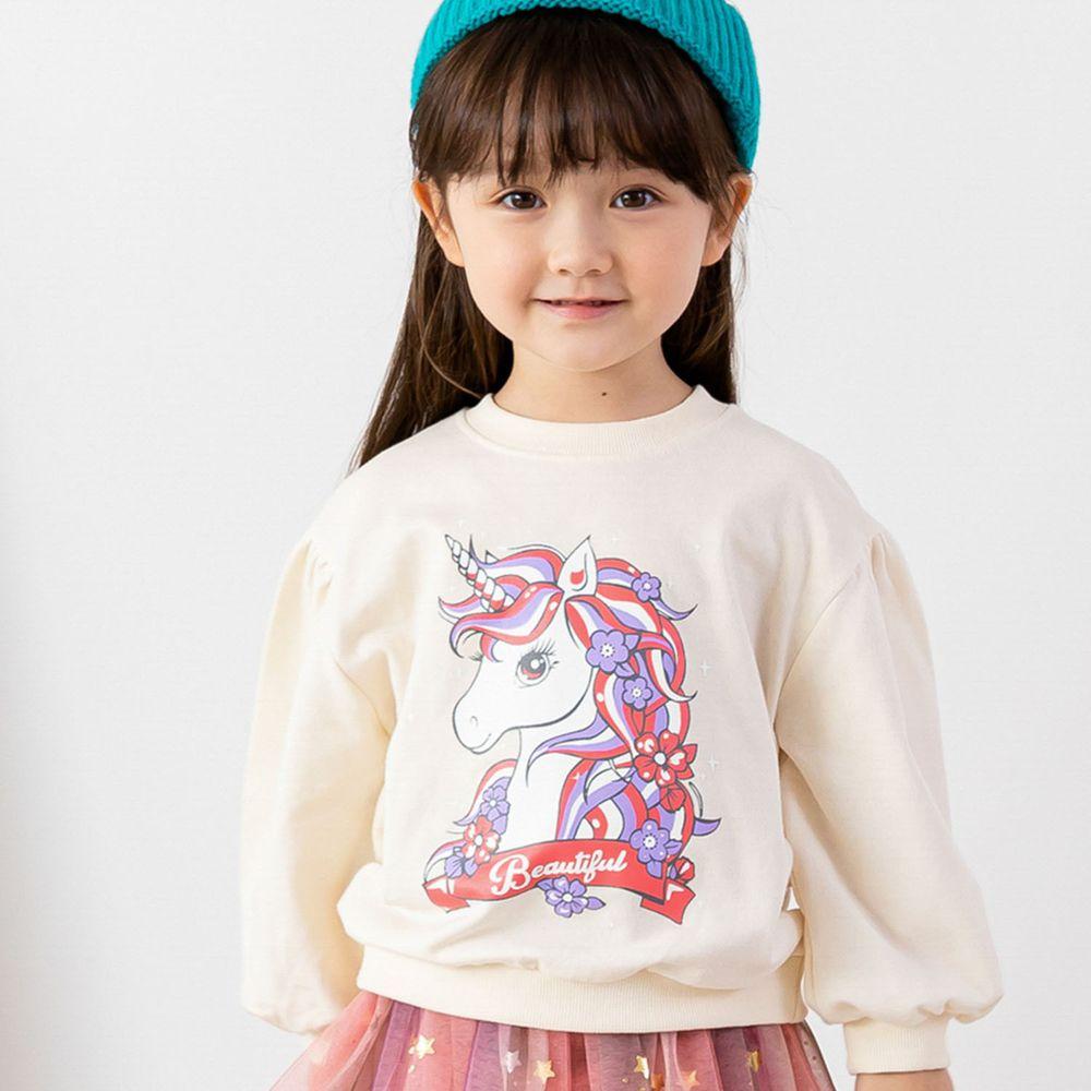 韓國 ERU - 童話獨角獸泡泡袖T-象牙白