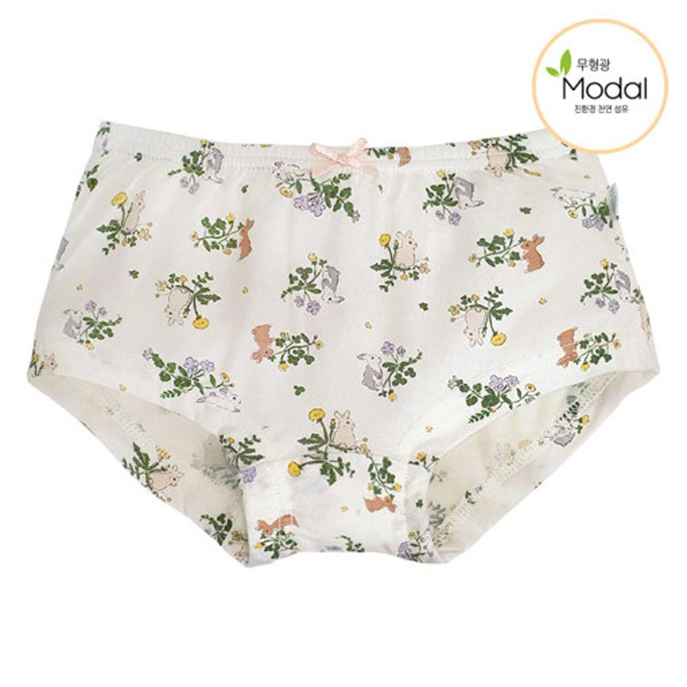 韓國 Ppippilong - 天絲莫代爾四角褲(女寶)-綠葉小兔