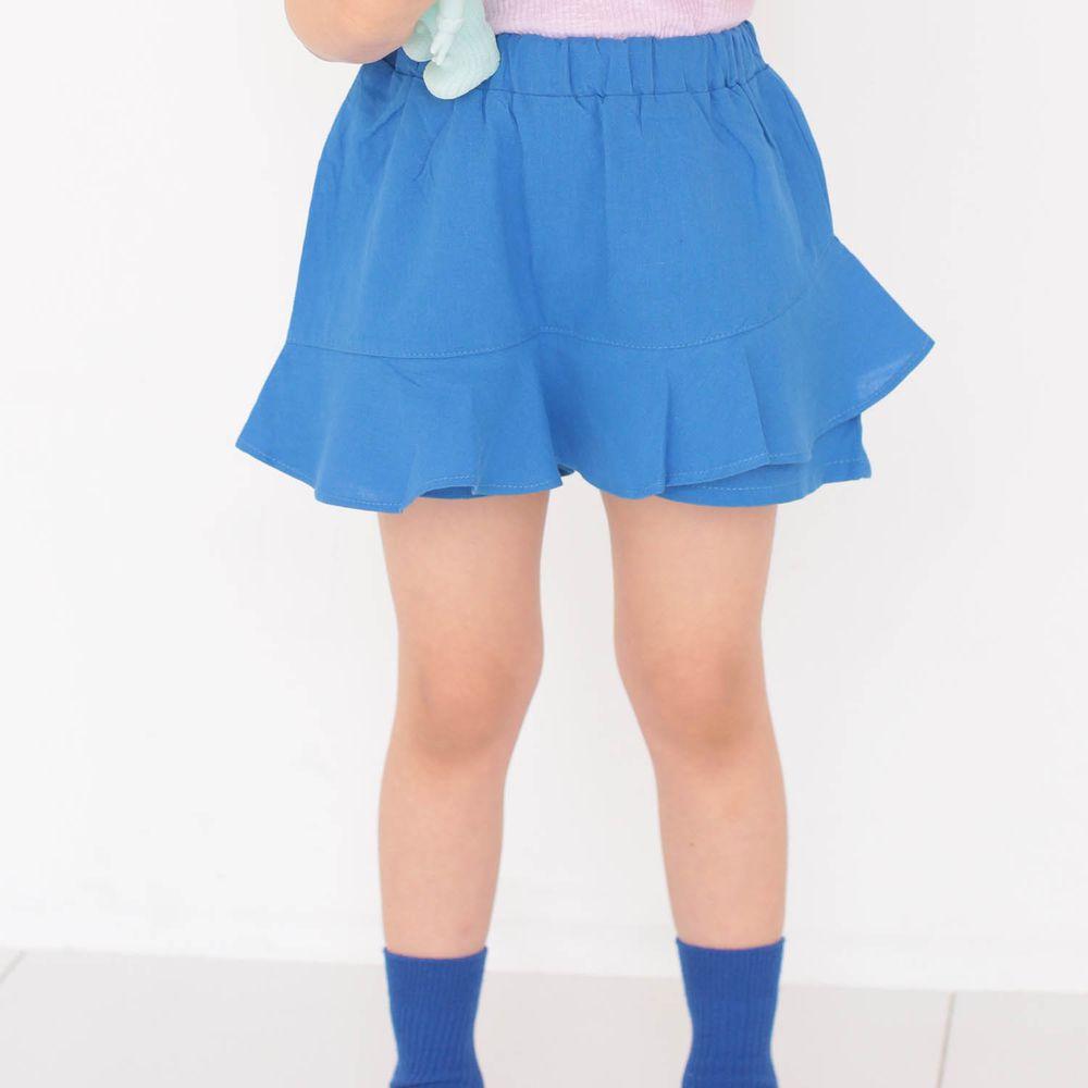 韓國 Dalla - 縮緊褲頭寬短褲裙-藍