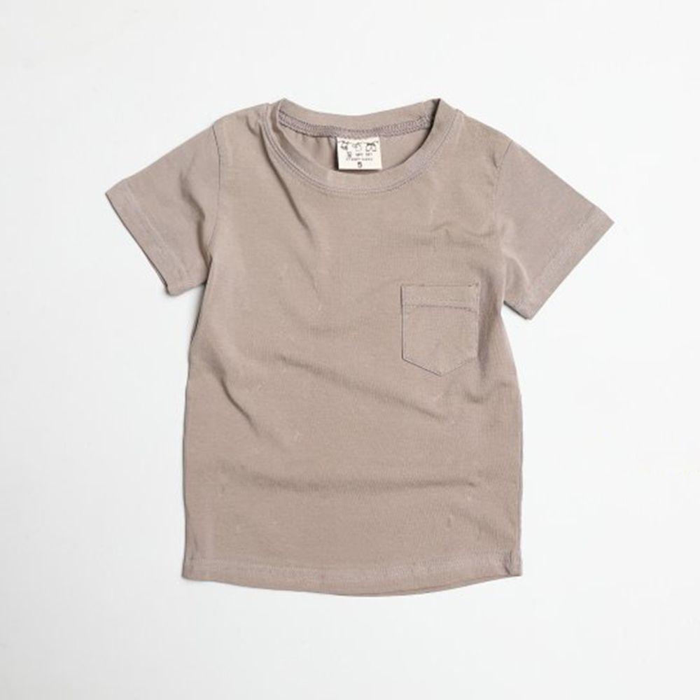 韓國製 - 水洗加工布口袋T-摩卡