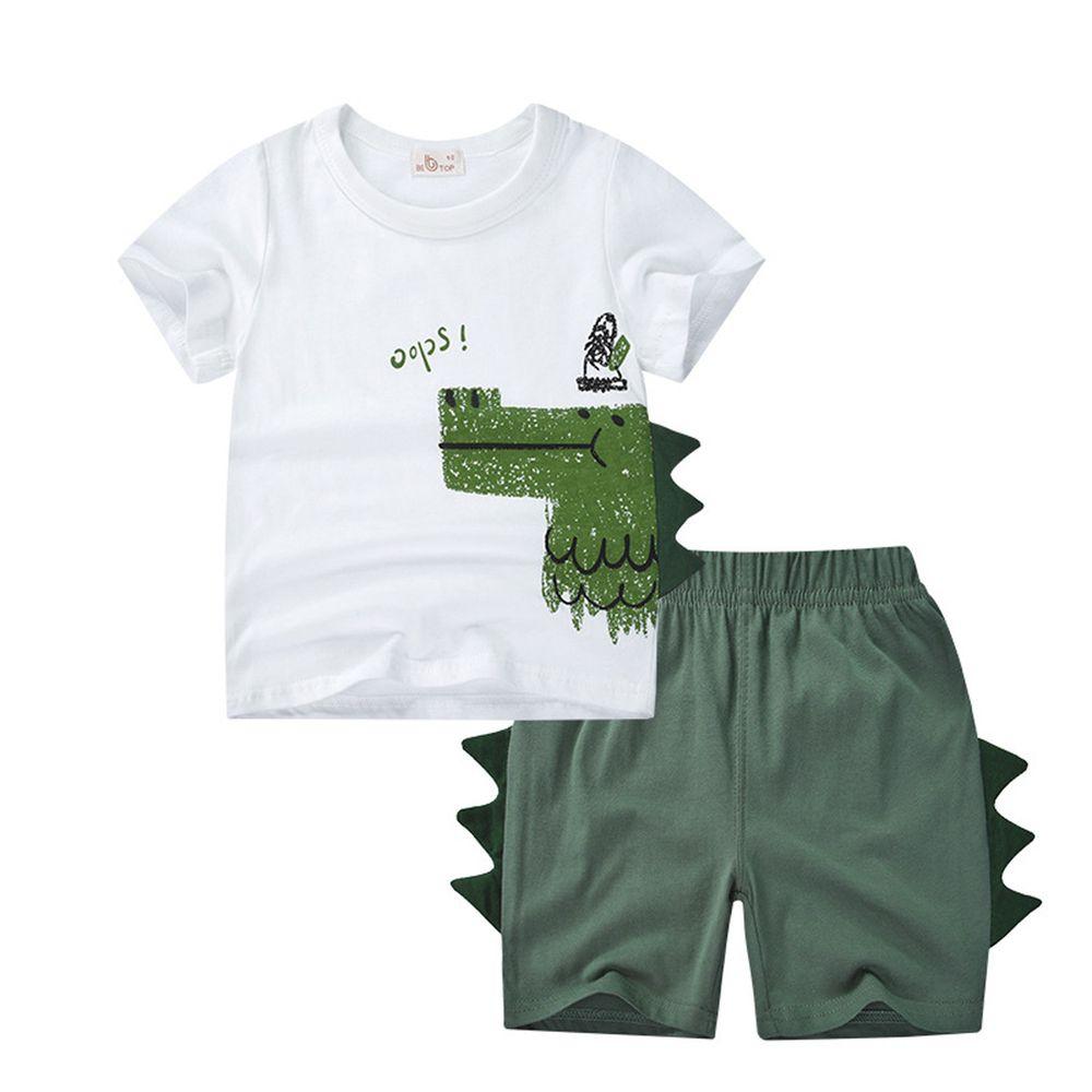 恐龍純棉短袖上衣短褲套組-白X綠