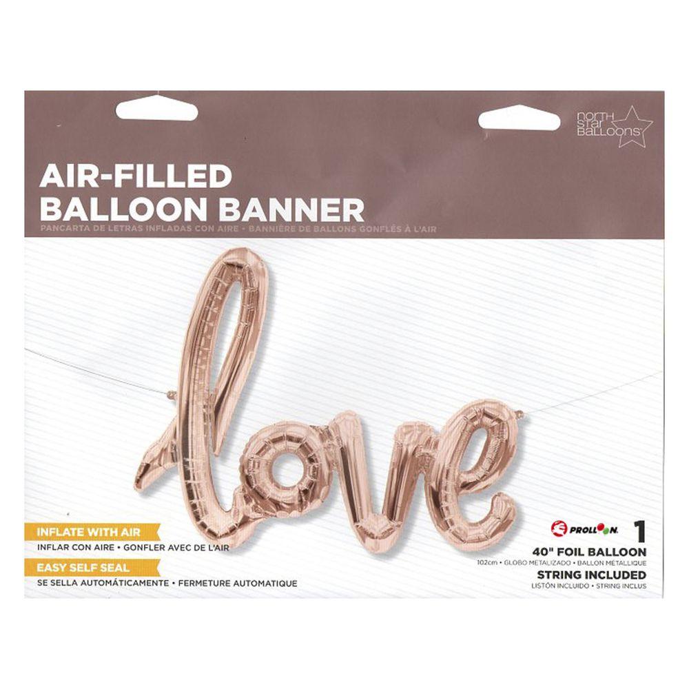 大倫氣球 - 40吋玫瑰金 LOVE連字鋁箔氣球(不含氦氣)-玫瑰金-love連字鋁箔氣球一顆.綁繩一條.吹管一支