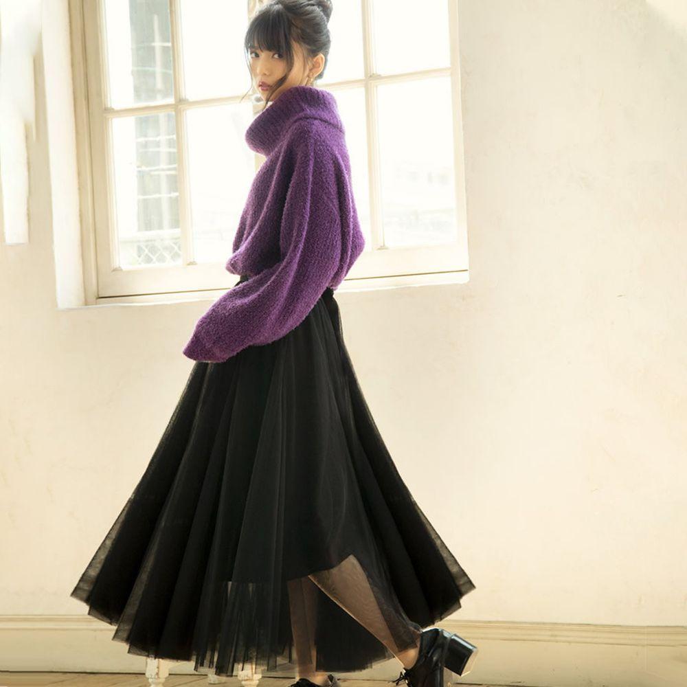 日本 GRL - 飄逸顯瘦雙層傘紗裙-時尚黑 (M)