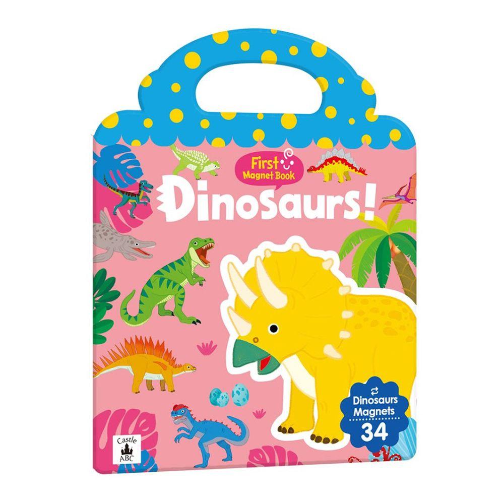 英文磁鐵遊戲書-First Magnet Book - Dinosaurs-內含34個認知磁鐵+3摺頁超大場景