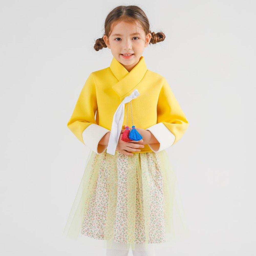 韓國 OZKIZ - 流蘇裝飾碎花紗裙2件式生活韓服-黃