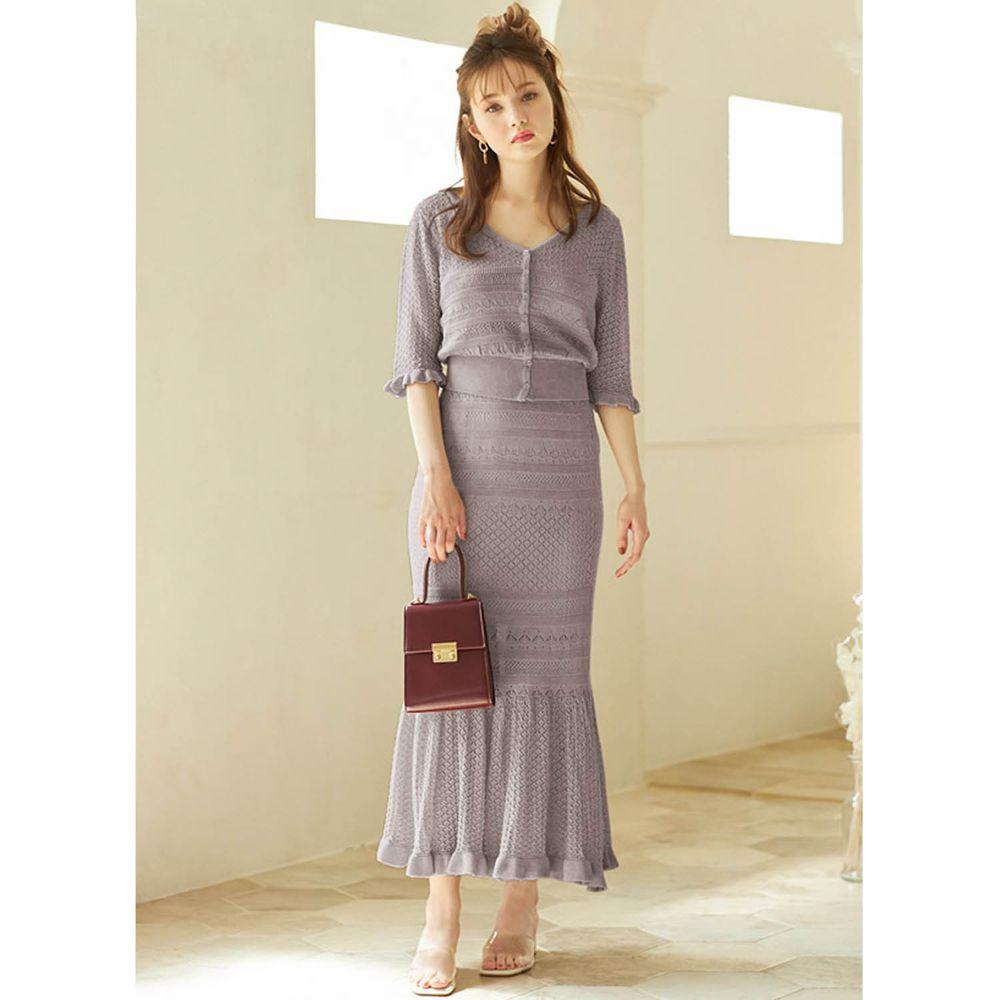 日本 GRL - 針織鏤空 V領五分袖上衣 X 魚尾長裙套裝-薰衣草