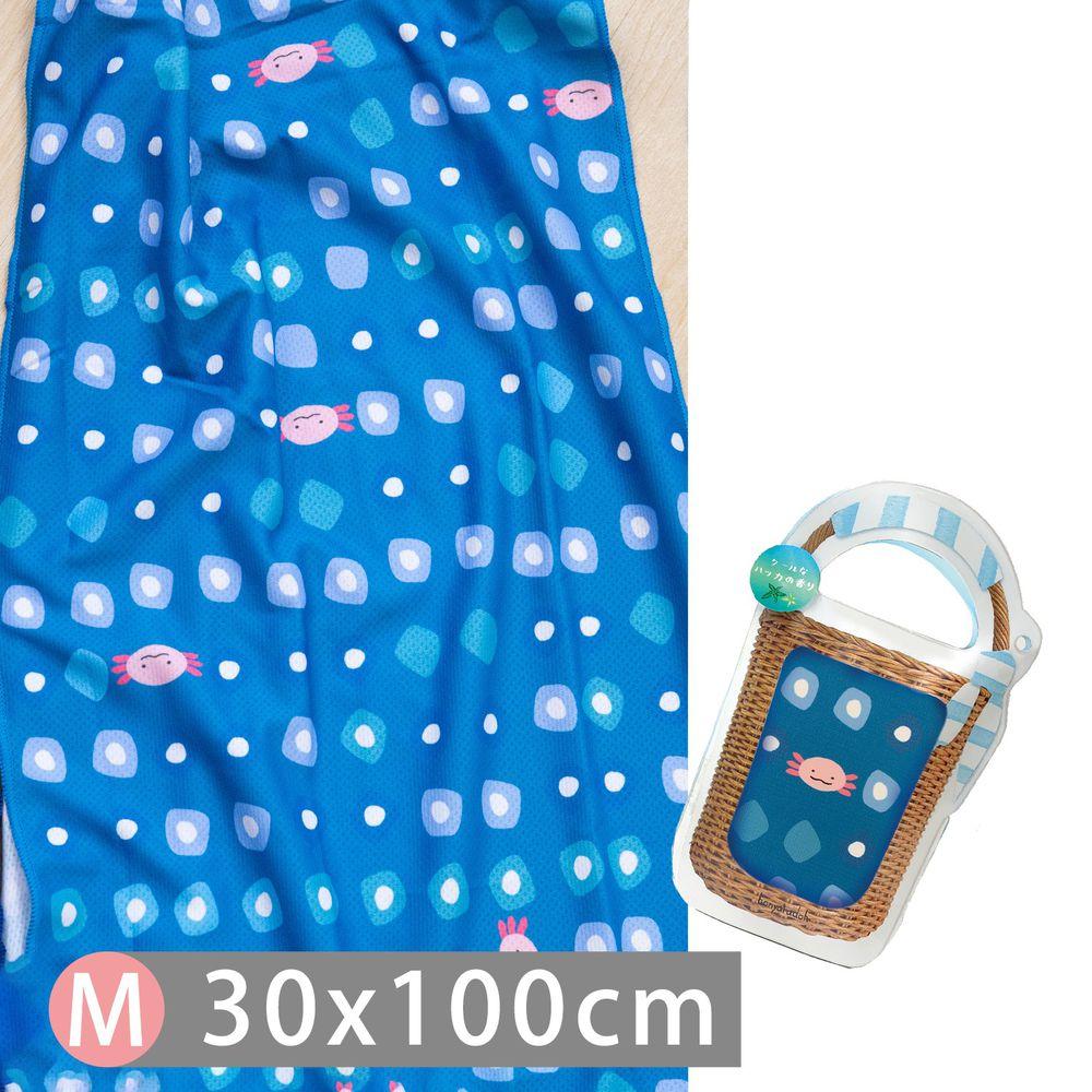 日本弘雅堂 - 抗UV水涼感巾(清新香味)-薄荷味-水藍蠑螈 (M(30x100cm))