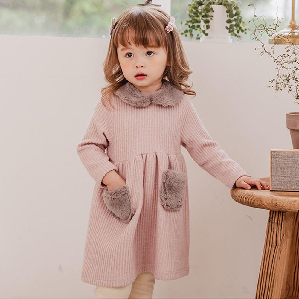 韓國 Bebezoo - 毛毛口袋燈芯絨洋裝