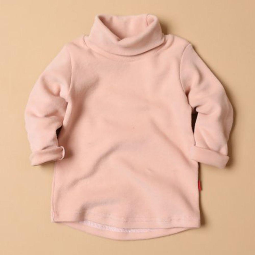 韓國製 - 桃皮絨高領素色內搭衣-淺粉紅