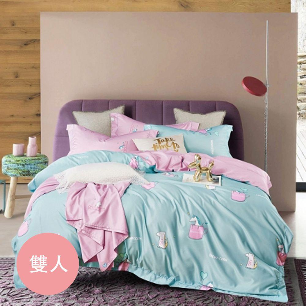 PureOne - 吸濕排汗天絲-類似愛-雙人床包枕套組(含床包*1+枕套*2)