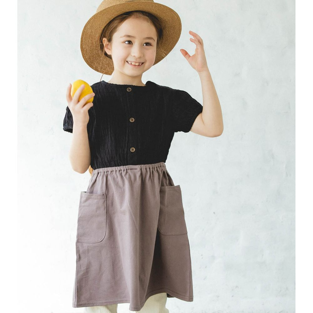 日本 PAIRMANON - 純棉楊柳皺摺拼接短袖洋裝-摩卡X黑