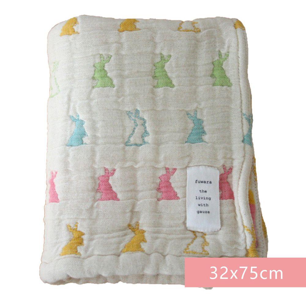 日本 Fuwara - 日本製三河木棉六重紗毛巾-彩色兔兔 (32x75cm)