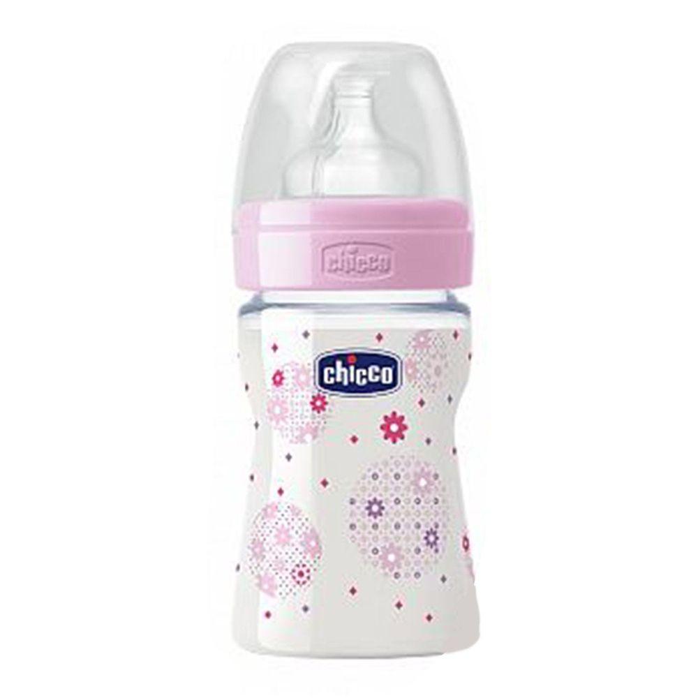 義大利 chicco - 舒適哺乳-甜美女孩矽膠PP奶瓶-小(0m+) (150ml)-小單孔