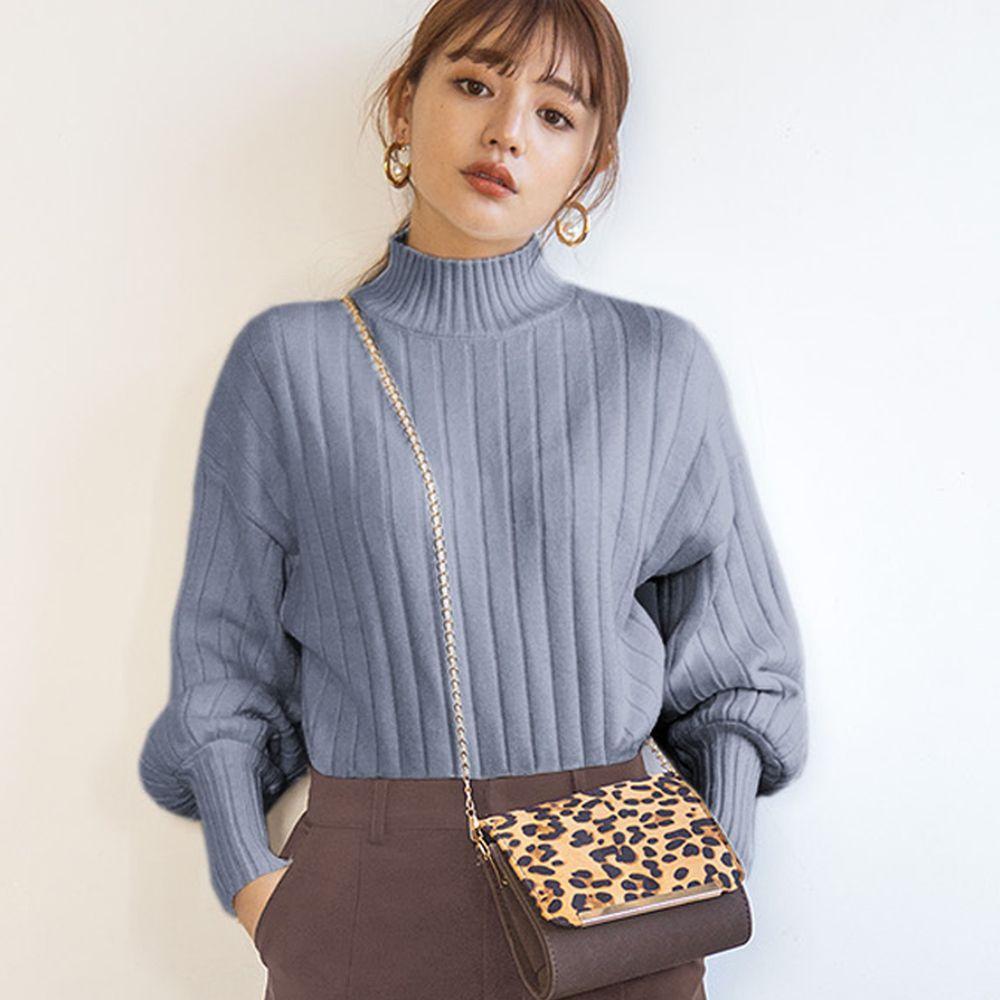 日本 GRL - 坑條紋澎袖小高領針織毛衣-藍