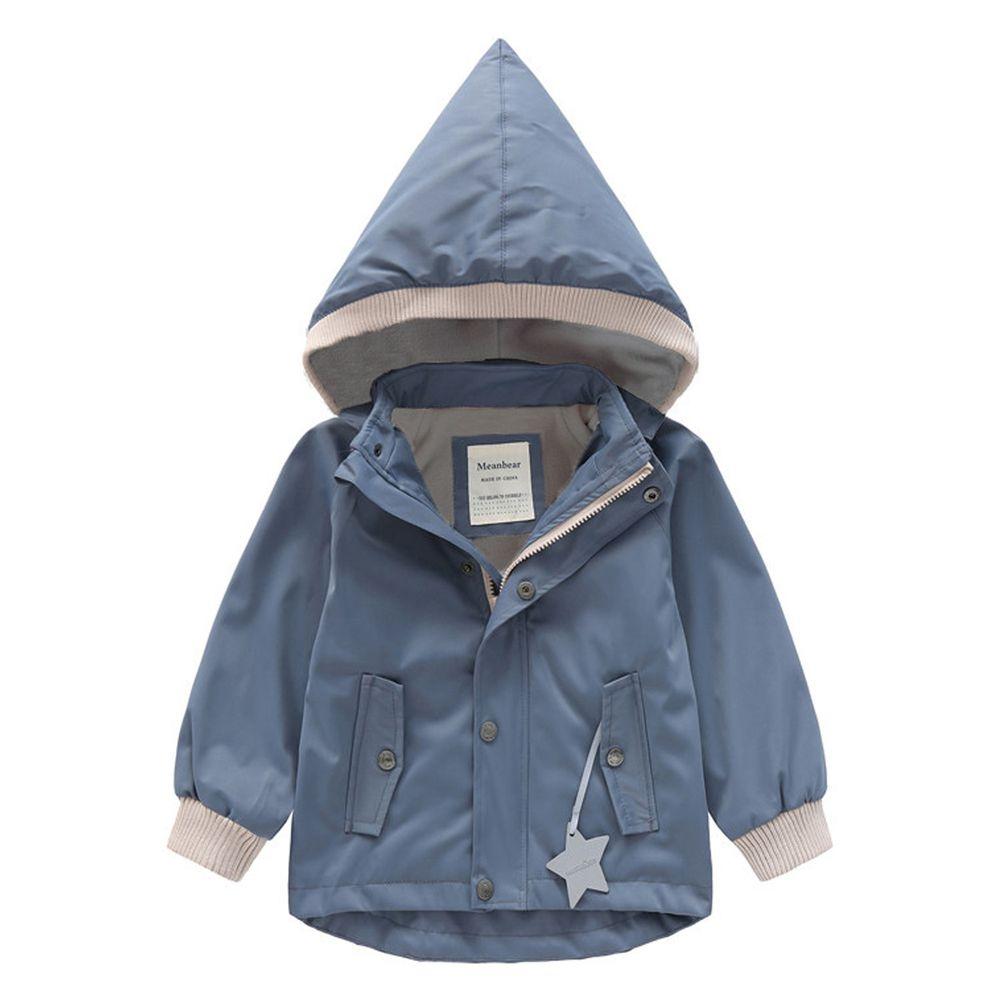 防風防雨加絨衝鋒外套-尖帽-灰色