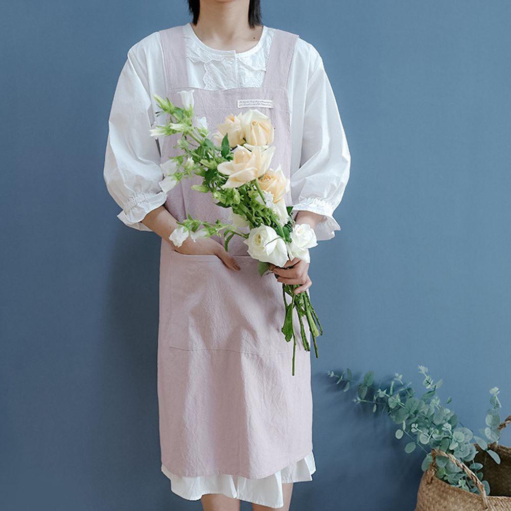 簡約風口袋棉麻圍裙-粉色