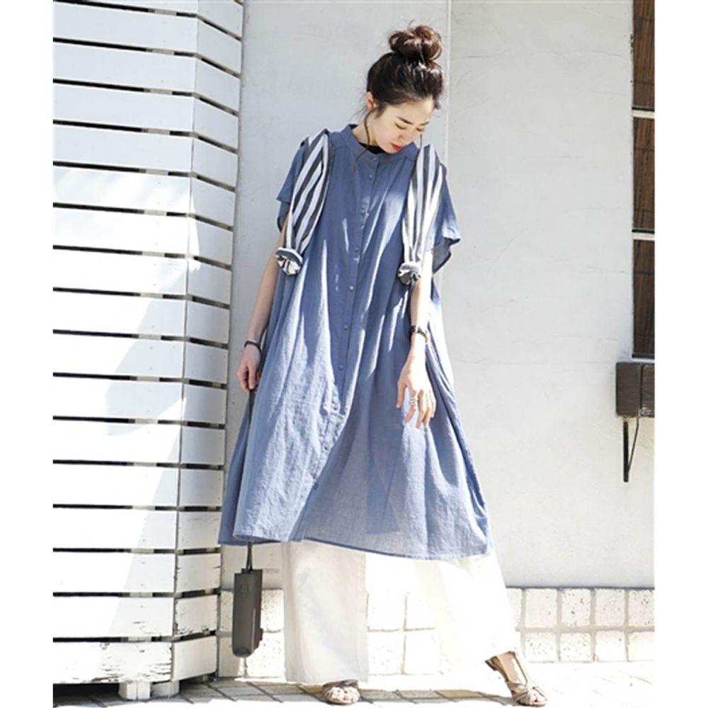 日本 zootie - 純棉顯瘦剪裁輕薄傘狀短袖洋裝/外套-星塵藍 (F)