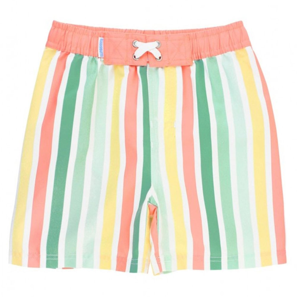 美國 RuffleButts - 小男童UPF 50+防曬泳褲-七彩軟糖